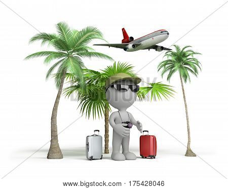 The man on vacation flew to rest. 3d image. White background.
