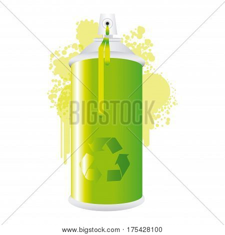 eco aerosol spray metal with smoke green paint vector illustration