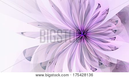 Spring Flower. Flora. 3D surreal illustration. Sacred geometry. Mysterious psychedelic relaxation pattern. Fractal abstract texture. Digital artwork graphic astrology magic