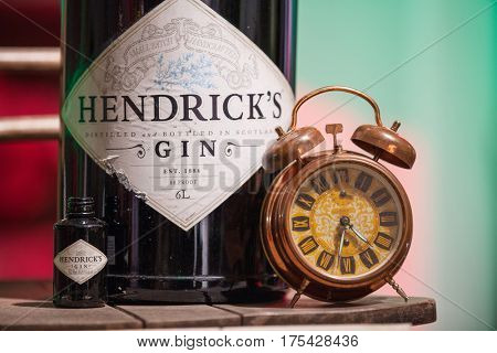 ZAGREB, CROATIA - MARCH 2, 2017: Detail of a large bottle of Hendrick's gin manufactured in Scotland