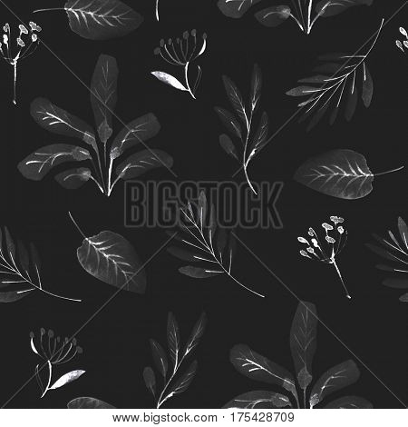 seamless watercolor pattern on black background
