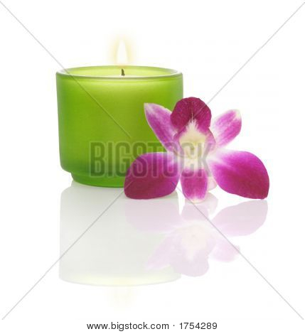 Candle In A Blue Bowl And Orchid