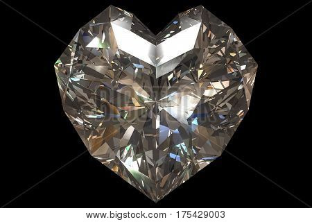 3d rendering of a diamond heart shape isolated on black background with clipping paths.