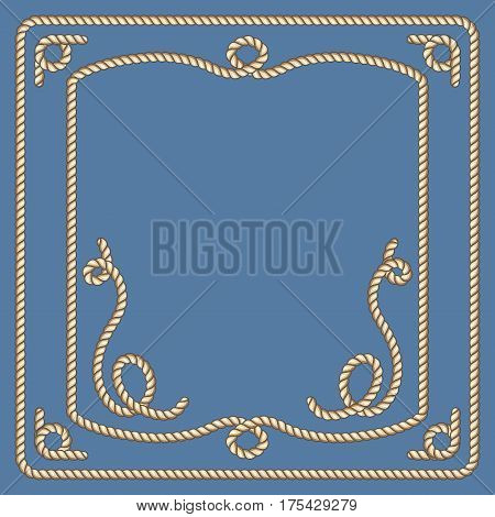 Nautical ropes vector frames set. Illustration of sailor rope border