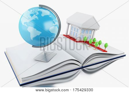 3d illustration. Stack of book with graduation cap notebook globe rolled diploma and university building. Education concept. Isolated white background