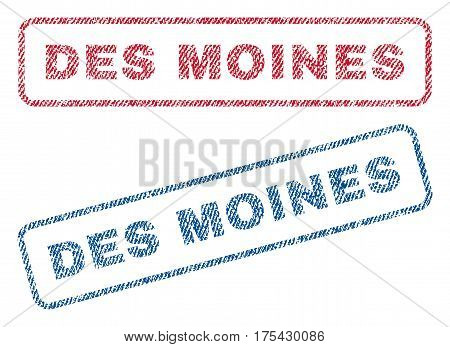 Des Moines text textile seal stamp watermarks. Blue, red fabric vectorized texture. Vector caption inside rounded rectangular banner. Rubber emblem with fiber textile structure.