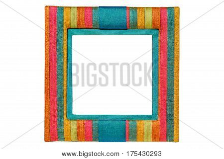 White blank inside of multicolor Thai silk photo frame on white background.