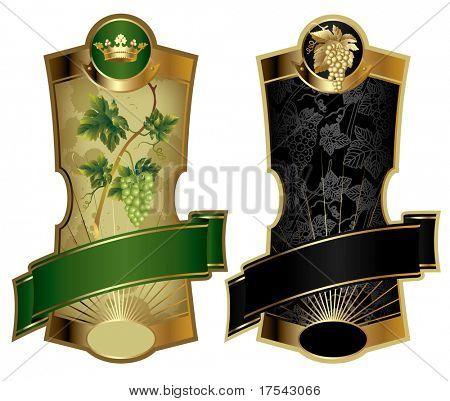 Raster version of vector image of two gold-framed wine labels