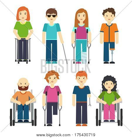Disabled people isolated on white background. Disability person set vector illustration. Disabled person in wheelchair