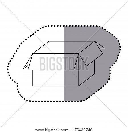 sticker silhouette carton box icon vector illustration