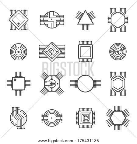 Computer chip icons. Electronic circuit and computer processor signs vector illustration isolated on white background. Cpu to computer, microchip or microprocessor