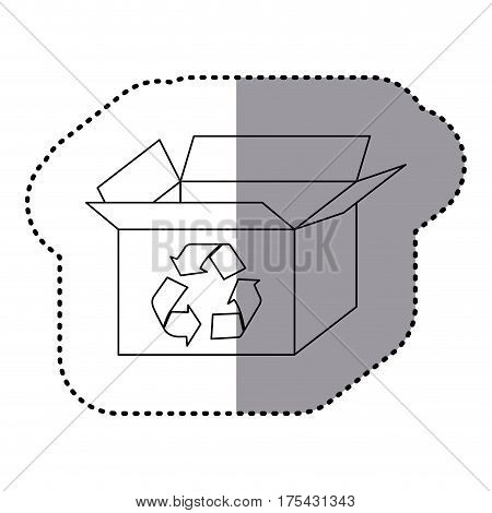 sticker silhouette carton box with recycling symbol vector illustration