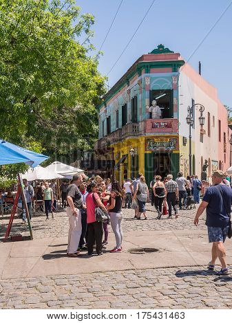 Buenos Aires Argentina - November 5 2016: Tourist and market in strreet of Caminito in District Boca of Buenos Aires