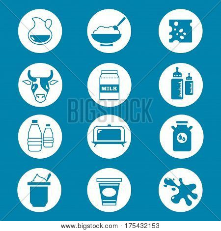 Diary products, milk vector icons set. Milk bottle fresh and cheese illustration