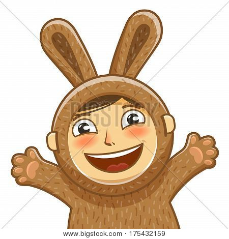 Happy child in costume rabbit. Bunny, hare cartoon. Vector illustration isolated on white background