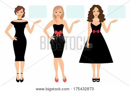 Beauty women presentation vector illustration. Stylish women in elegant black dress show or presenting product isolated on white background