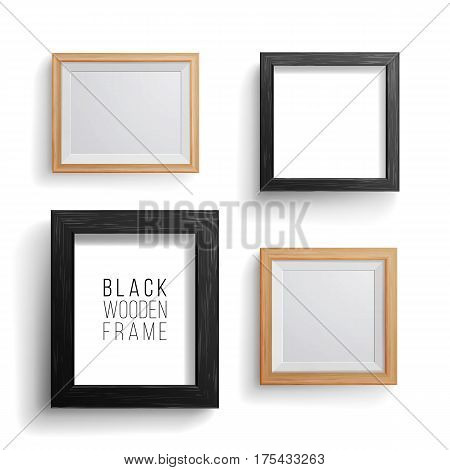 Realistic Photo Frame Vector Set. Collection Of Empty Blank. Realistic Picture Frame On The White Wall. Template For Mock Up.