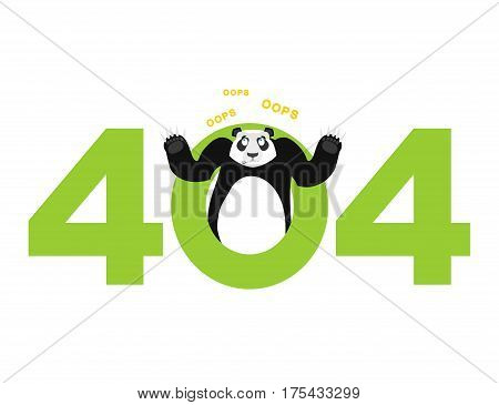 Error 404. Panda Surprise. Page Not Found Template For Web Site.china Bear Does Not Know And Is Surp