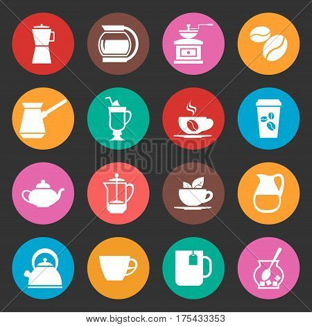 Colorful coffee vector icons set. Cappuccino cup and drink espresso illustration