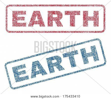 Earth text textile seal stamp watermarks. Blue, red fabric vectorized texture. Vector tag inside rounded rectangular banner. Rubber emblem with fiber textile structure.