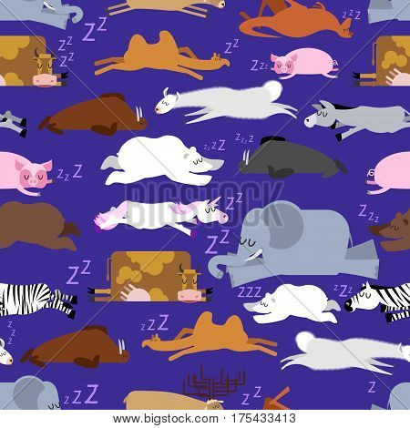Sleeping Animals Seamless Pattern. Seal And Deer. Crocodile And Camel. Zebra And Bear. Walrus And Ka