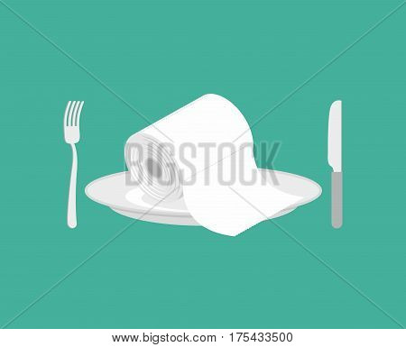 Toilet Paper On Plate. Toilet Roll On Dish. Knife And Fork