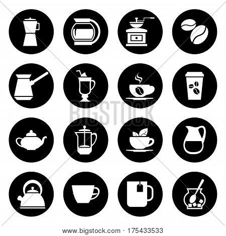 Coffee vector icons set in black and white. Hot beverage black illustration