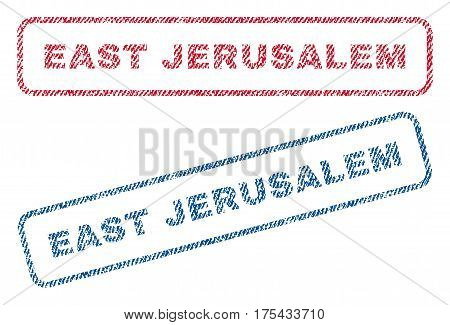 East Jerusalem text textile seal stamp watermarks. Blue, red fabric vectorized texture. Vector tag inside rounded rectangular shape. Rubber emblem with fiber textile structure.