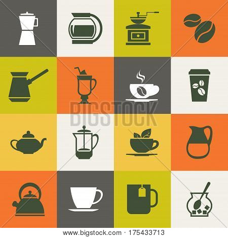 Multicolor coffee vector icons set. Illustration of label with hot beverage