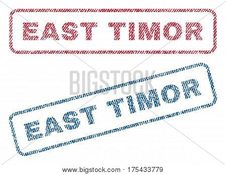 East Timor text textile seal stamp watermarks. Blue, red fabric vectorized texture. Vector caption inside rounded rectangular banner. Rubber sticker with fiber textile structure.