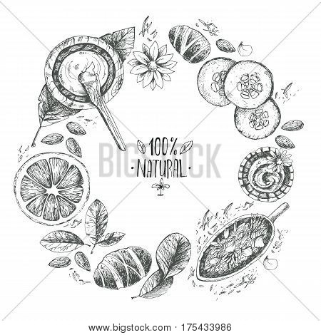 Hand drawn vector round wreath background, organic cosmetics, spa. Natural herbal products, citrus, cucumber, zucchini, flower petals, chamomile, almond Vintage engraving sketchy style