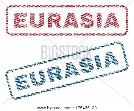 Eurasia text textile seal stamp watermarks. Blue, red fabric vectorized texture. Vector tag inside rounded rectangular banner. Rubber sign with fiber textile structure.