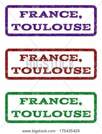 France, Toulouse watermark stamp. Text tag inside rounded rectangle frame with grunge design style. Vector variants are indigo blue, red, green ink colors. Rubber seal stamp with scratched texture.