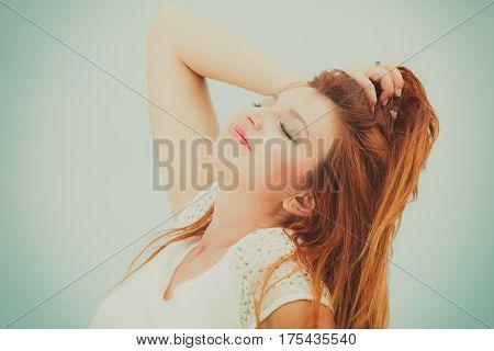 Portrait Of Beautiful Redhead Adult Woman