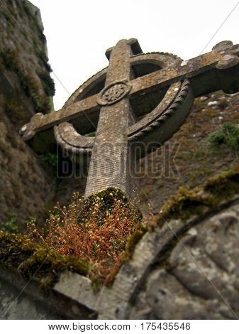 Celtic Cross At Cemetery In Ireland