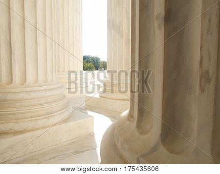 Detail of white marble columns at the United States Supreme Court Building in Washington DC