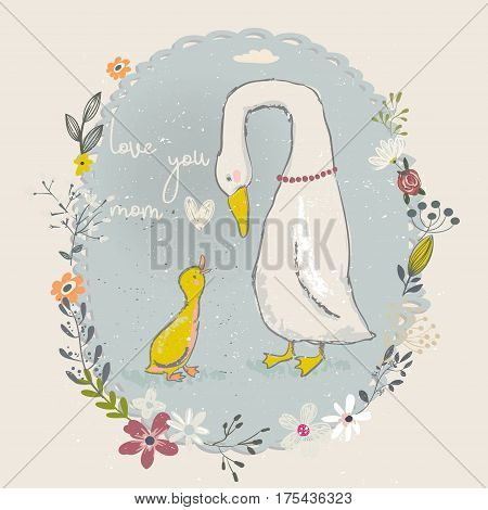 cute little cartoon goose and gosling with flower frame