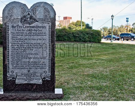 A monument with the ten commandments stands on the grounds of the Texas State Capitol Building in Austin Texas.