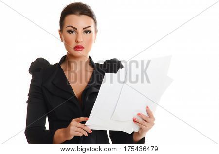 Portrait of a confident young woman standing  with documents on white background