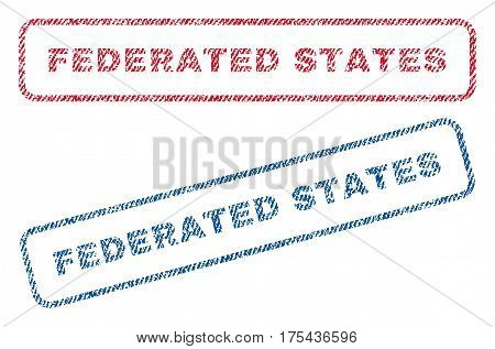 Federated States text textile seal stamp watermarks. Blue, red fabric vectorized texture. Vector tag inside rounded rectangular shape. Rubber sticker with fiber textile structure.