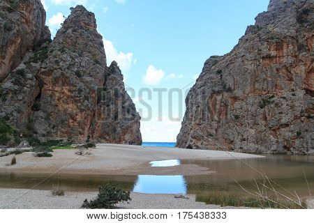 Canyon Torrent De Pareis, Beach And Mediterranean Sea, Majorca, Spain