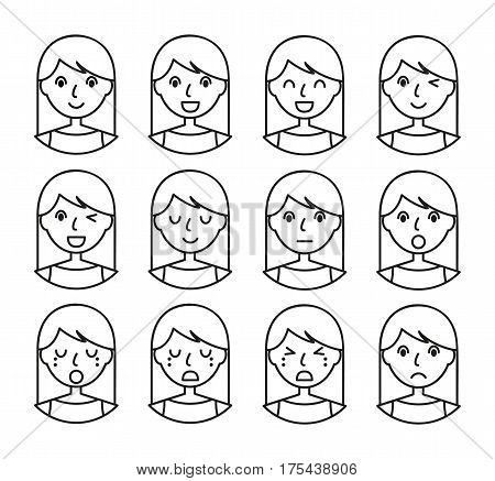 Woman emotions. Beautiful girl line art. Facial expression icons set. Isolated on whote background. Set of woman avatars. Vector illustration.