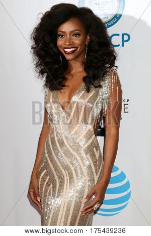 LOS ANGELES - FEB 11:  Teyonah Parris at the 48th NAACP Image Awards Arrivals at Pasadena Conference Center on February 11, 2017 in Pasadena, CA