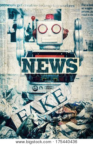 fake news concept wirh toy robots