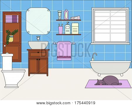 Design of room - bathroom with toilet, shower, sink, closet with mirror. for interior.Set of bathroom element. Furniture.
