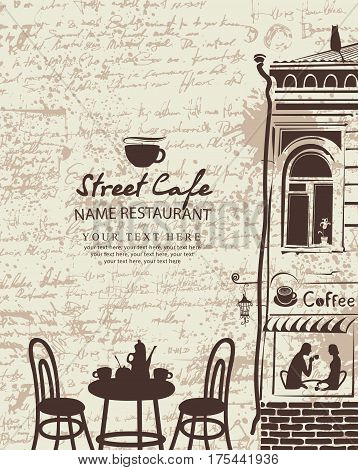 Banner for a street cafe with the facade of the old building and furniture in the background of the manuscript with blots