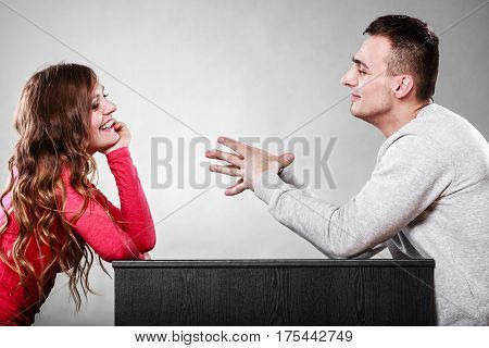 Happy Couple Talking On Date. Conversation.