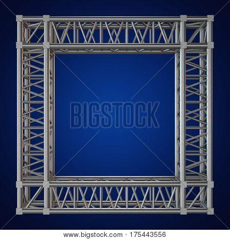 Steel truss girder frame or window element. 3d render on blue