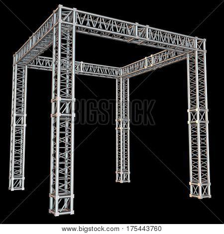 Steel truss girder rooftop construction. 3d render on black