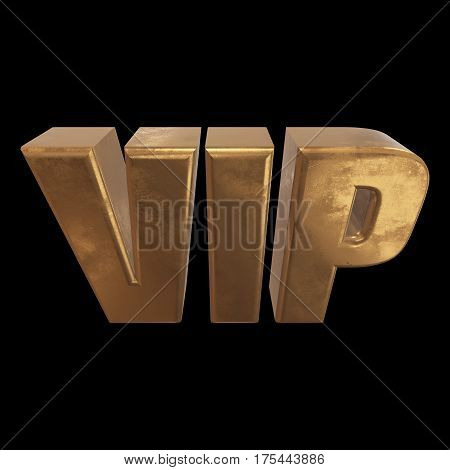 Golden letters VIP. 3d render on black background. Very mportant person word
